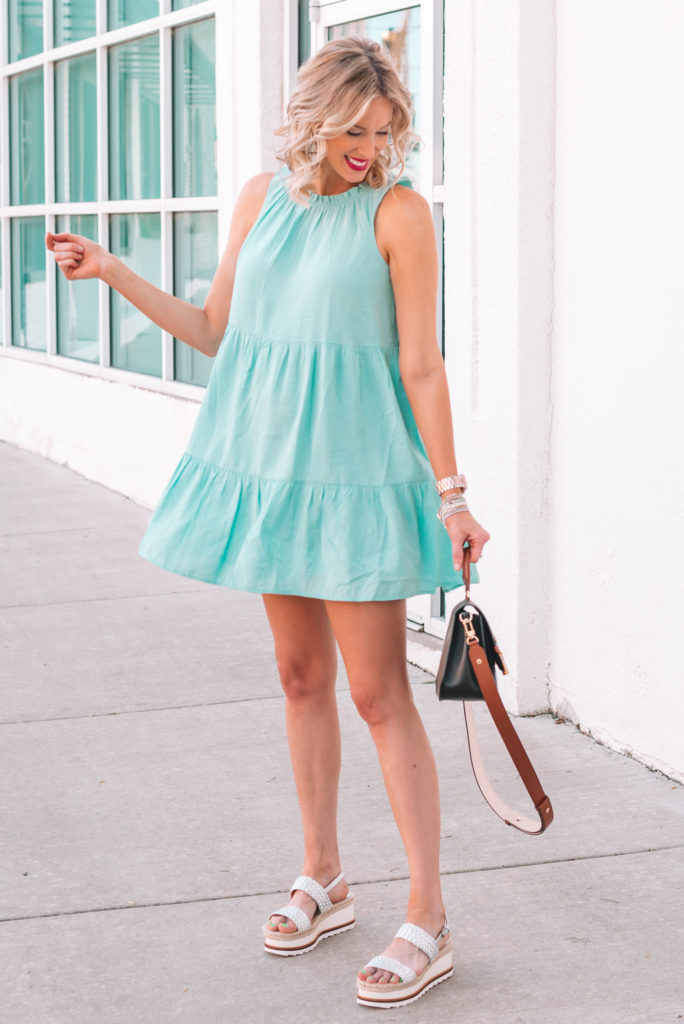 Easy maternity outfit! Tiered mint swing dress with silver flatform sandals.