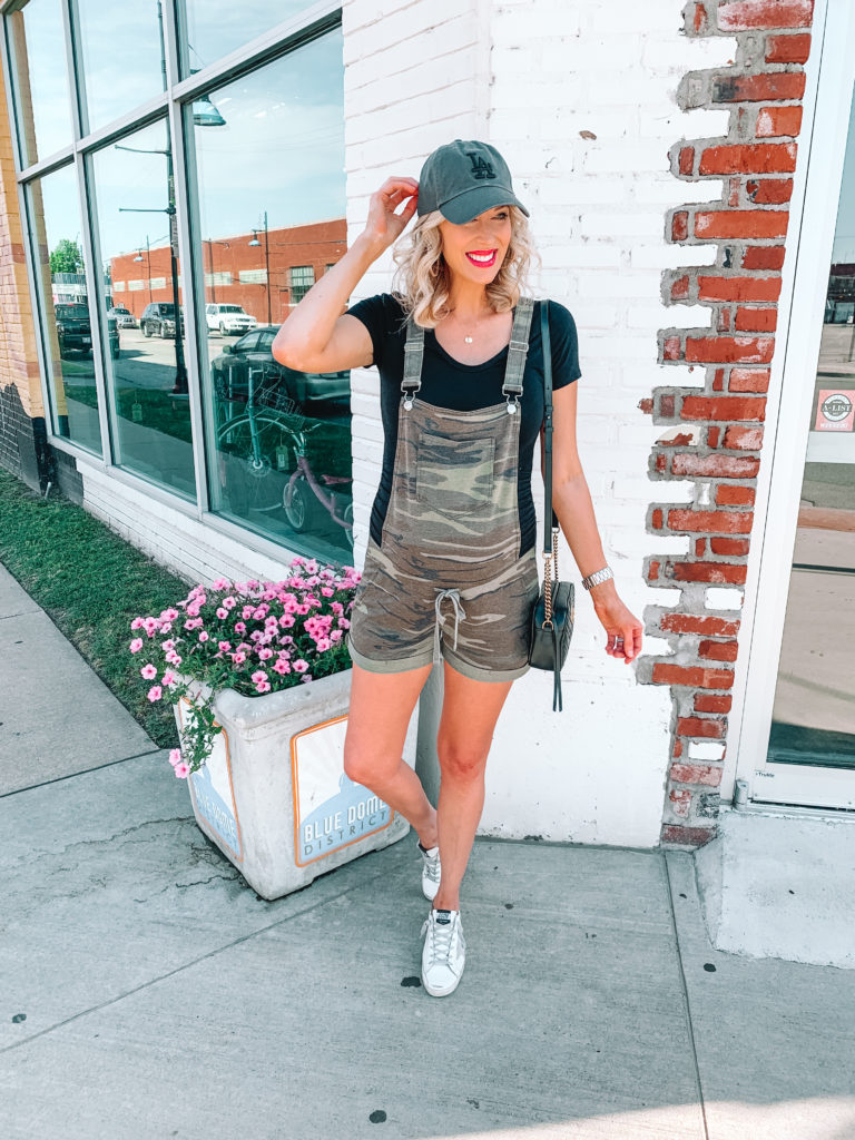 Ever wondered how to wear shortalls? They are a closet favorite of mine, and today I am sharing a cute new pair of camo soft overalls and some tips.