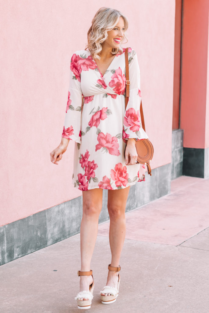 floral chiffon dress and wedges