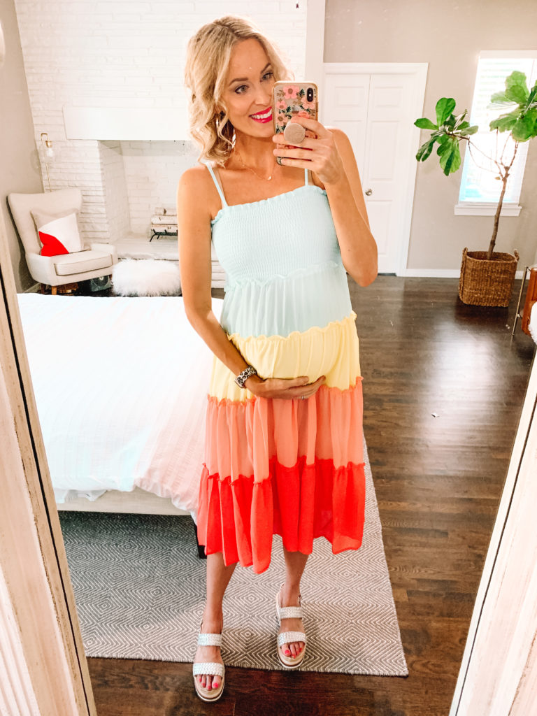 This rainbow tiered dress is so fun and perfect for summer! Sharing this and more in a red dress try on.