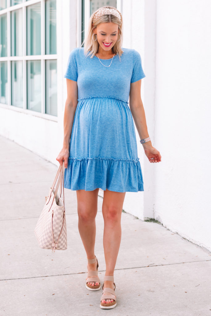 This is the best $27 Amazon dress ever! I love the blue color and the easy to wear style for summer.