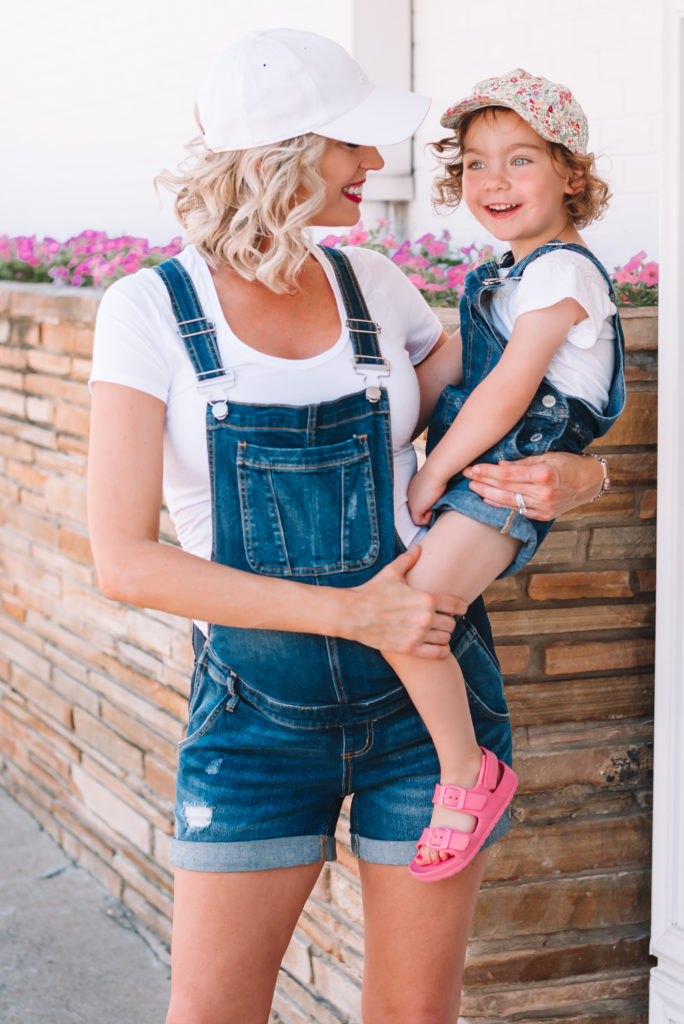 I love to twin with my daughter! Today we are wearing our mommy and daughter overalls or shortalls for summer.