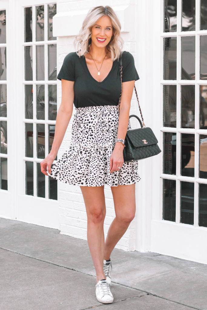 I love this fun black and white printed skirt styled with sneakers for an easy outfit!