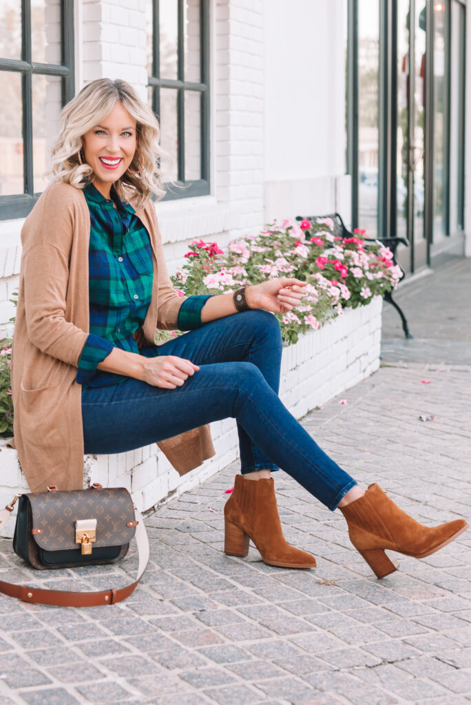 Wondering how to style your favorite flannel? I'm sharing 3 ways to style a flannel shirt on the blog! I love styling it under a cardigan or moto jacket.