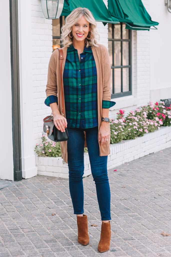 A flannel shirt is a great thing to wear under a cardigan. This blue and green flannel paired with a camel cardigan is a classic!