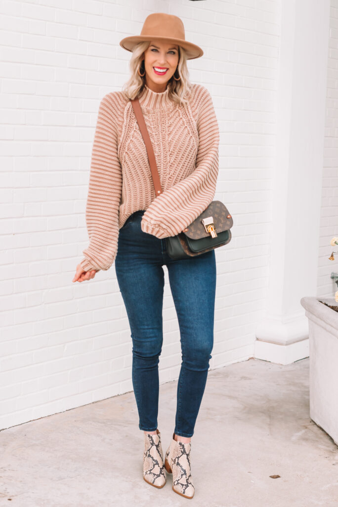 I am loving this easy fall sweater and boot outfit! Plus I am sharing a Marc Fisher coupon code.