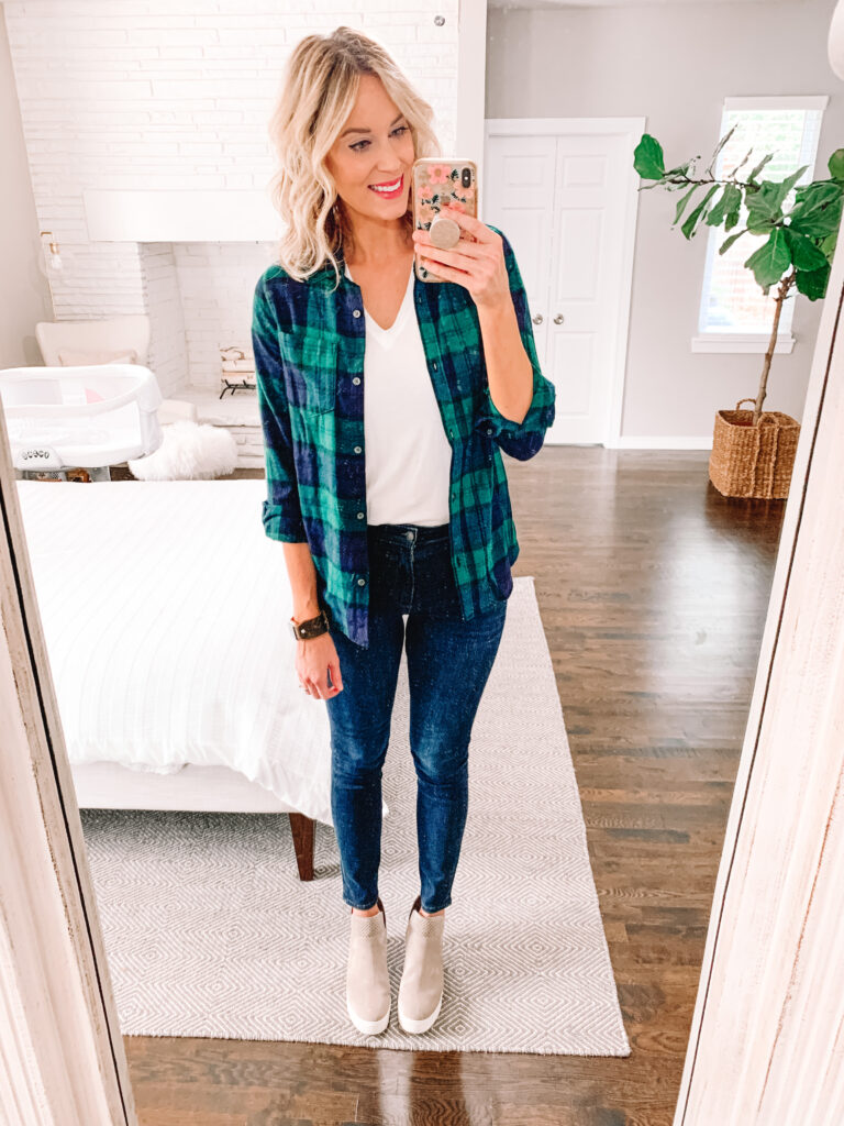 A flannel makes a great outer layer over a t-shirt with jeans or leggings. Click to read more and get other outfit ideas.