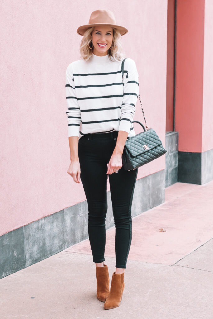 I love a good black, white, and camel outfit combination! This one is perfect for fall!