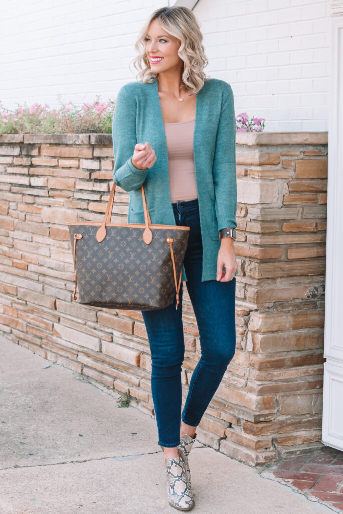 I love this pretty teal colored cardigan paired with snake boots and jeans for the perfect fall cardigan outfit!