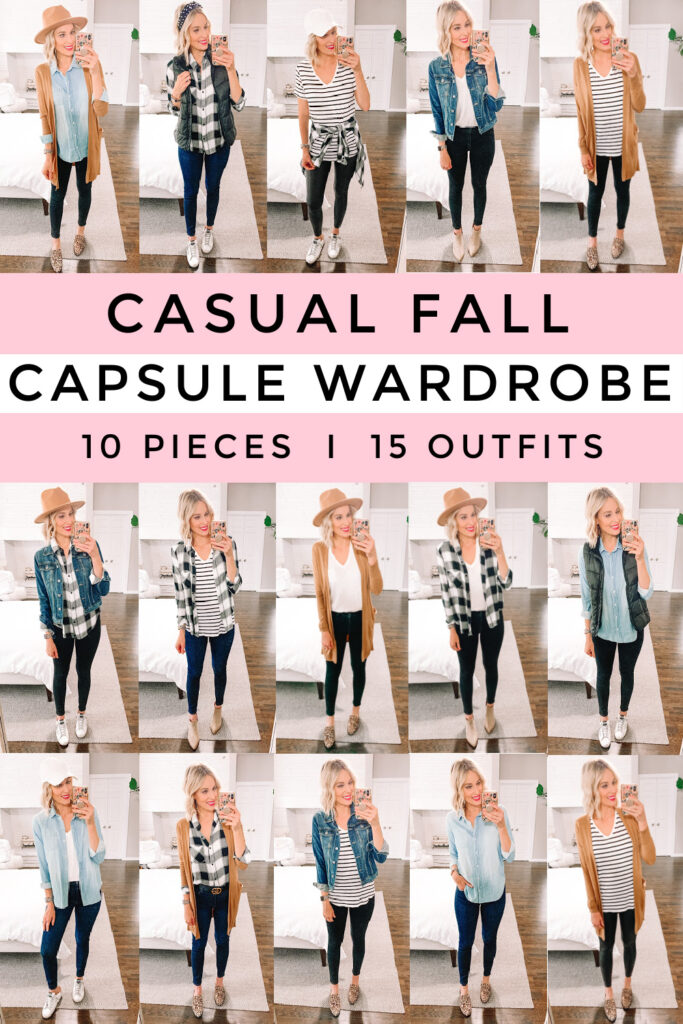 Do you struggle putting outfits together? Are you overwhelmed by your closet and want to scale back? Just need to get out the door quickly and want an easy way to get dressed quickly? Then I have the answer for you! I am so excited to be sharing my casual fall capsule wardrobe. It is all made up of pieces that are $40 and under (and often on sale for even less)! You'll get 15 mix and match outfits with 10 pieces using items you probably already have in your closet.