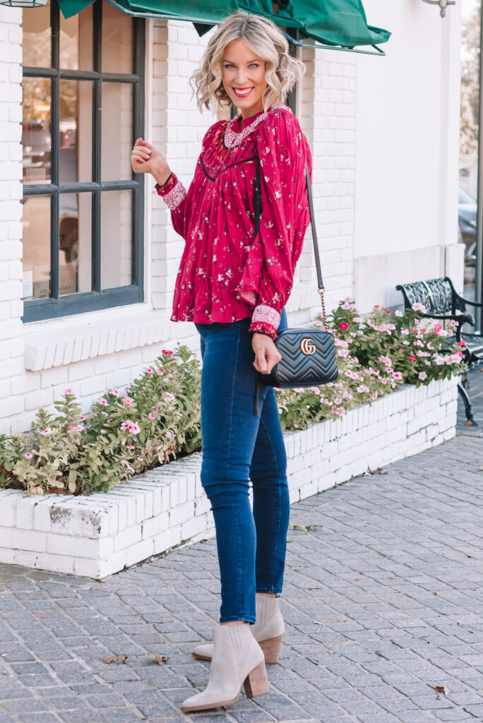 My go-to fall outfit is a blouse and jeans. Done!