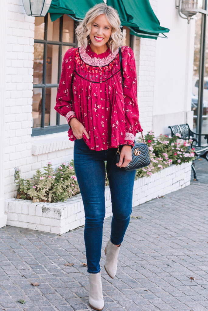 I found the perfect fall blouse! I love the color and boho vibe of this gorgeous Free People top! Blouses like this are always a favorite for me since they can be worn with jeans more casually or dressed up with slacks for work.