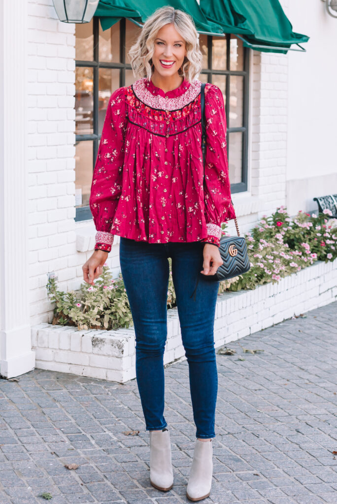 This is the perfect fall blouse! I love the rich berry color and how easy to style it is with jeans or slacks.