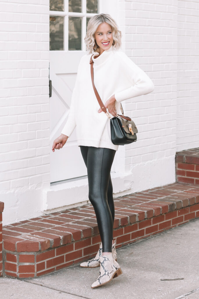Easy faux leather leggings and sweater outfit for fall and winter.