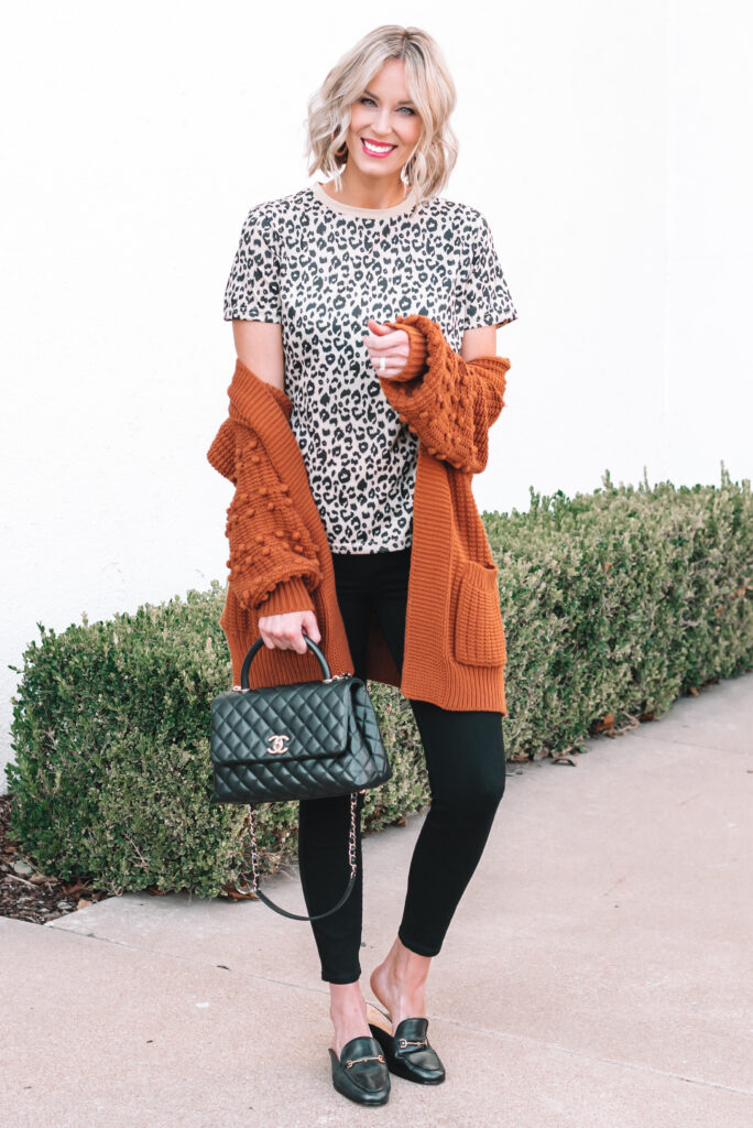 I am loving this leopard and rust outfit combination for a fun fall look. This pom pom cardigan has been a long time favorite!