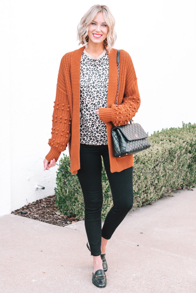 Try pairing black, leopard, and rust for a fun fall outfit.