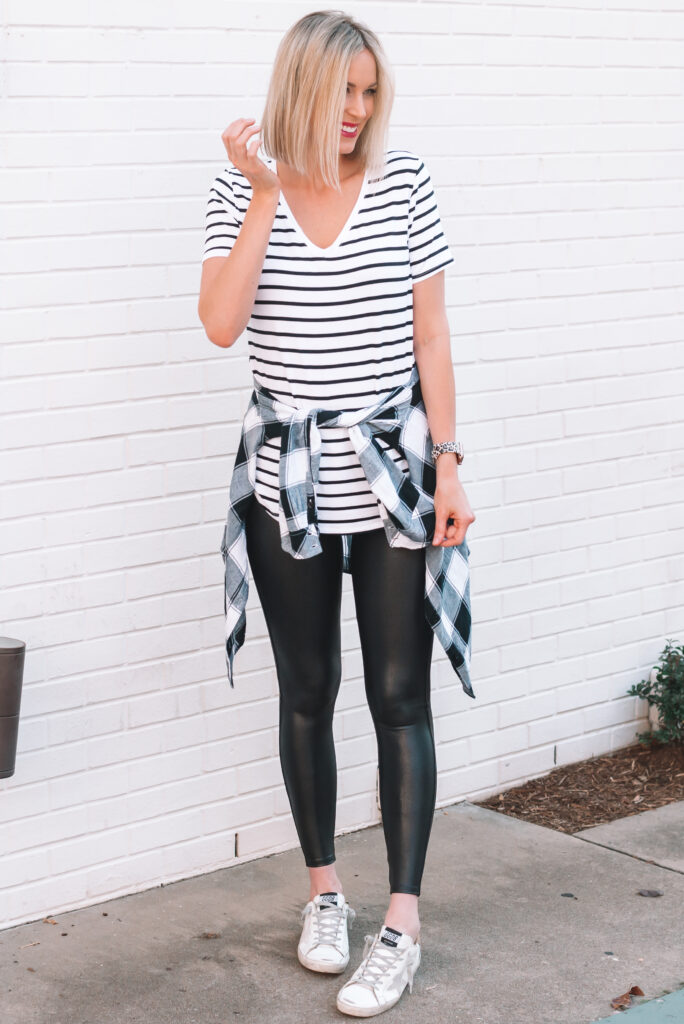 I love how this black and white striped t-shirt pairs with my black and white plaid shirt and favorite leather leggings.