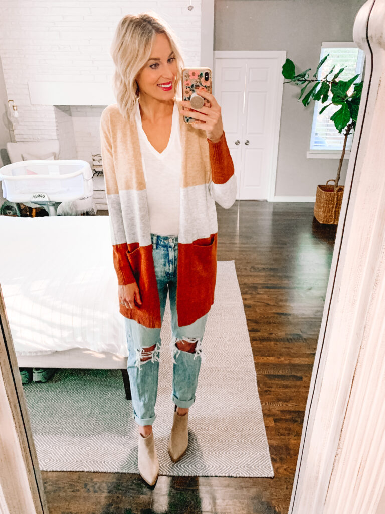 This colorblock cardigan and ankle boot combo is my favorite look from my fall Target try on!