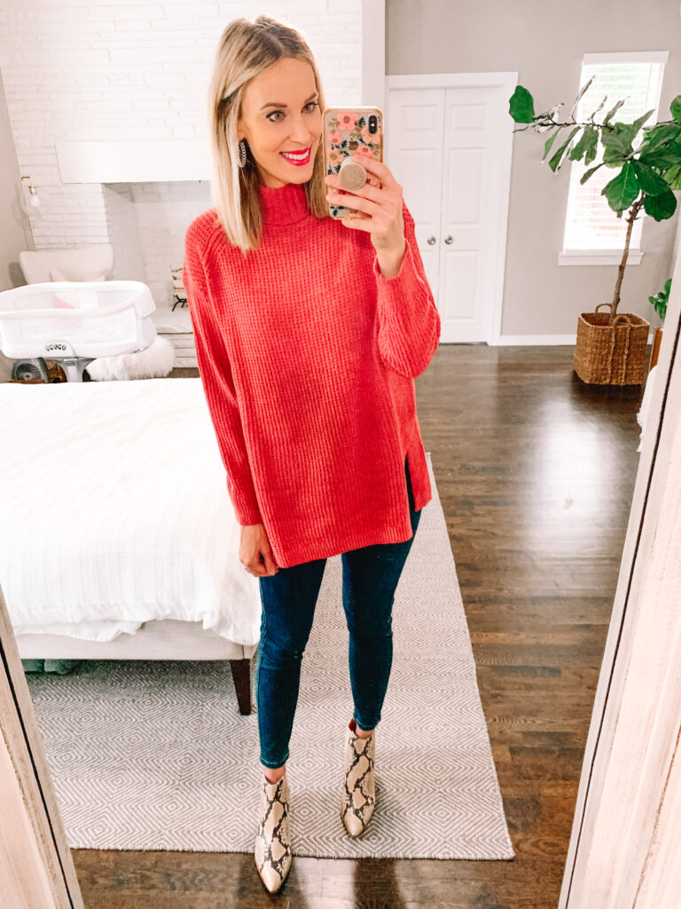 This pink tunic length sweater is the perfect length for jeans or leggings!