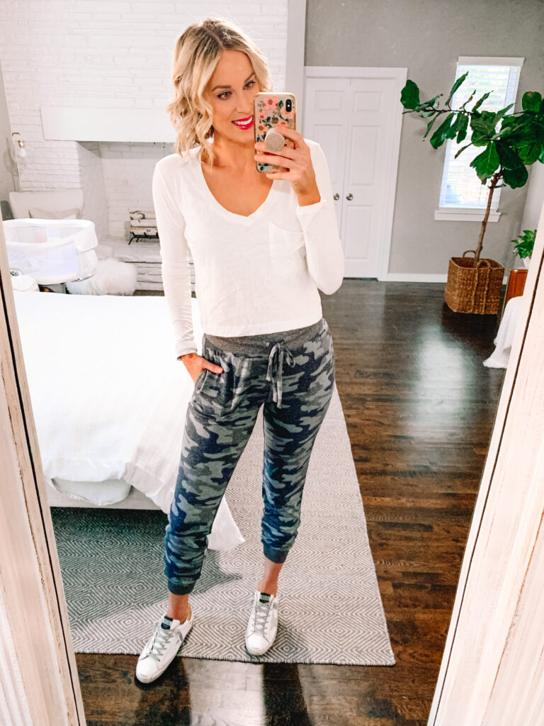These camo joggers are ultra soft and so cozy for an easy at home look!