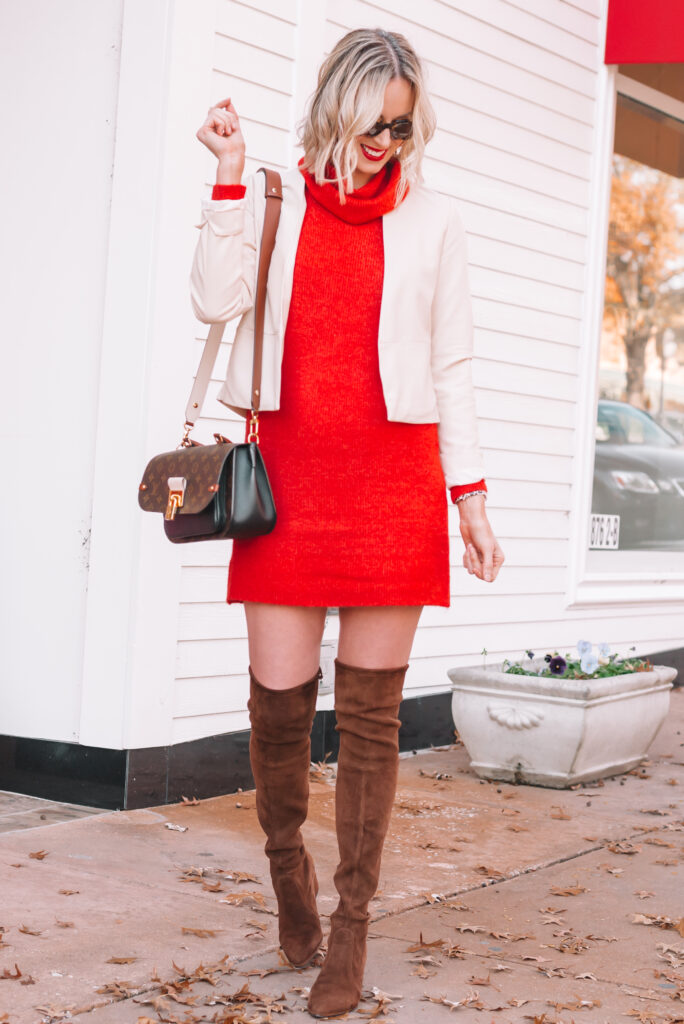This red sweater dress makes for the perfect holiday outfit!