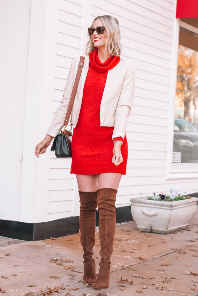 Try pairing a red sweater dress with boots and a jacket for an easy and gorgeous holiday look!