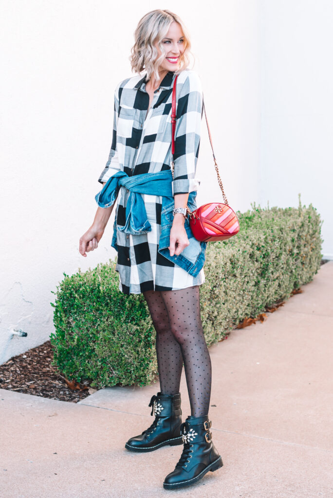 I love this cute black and white buffalo plaid dress for an easy and versatile fall and winter look!