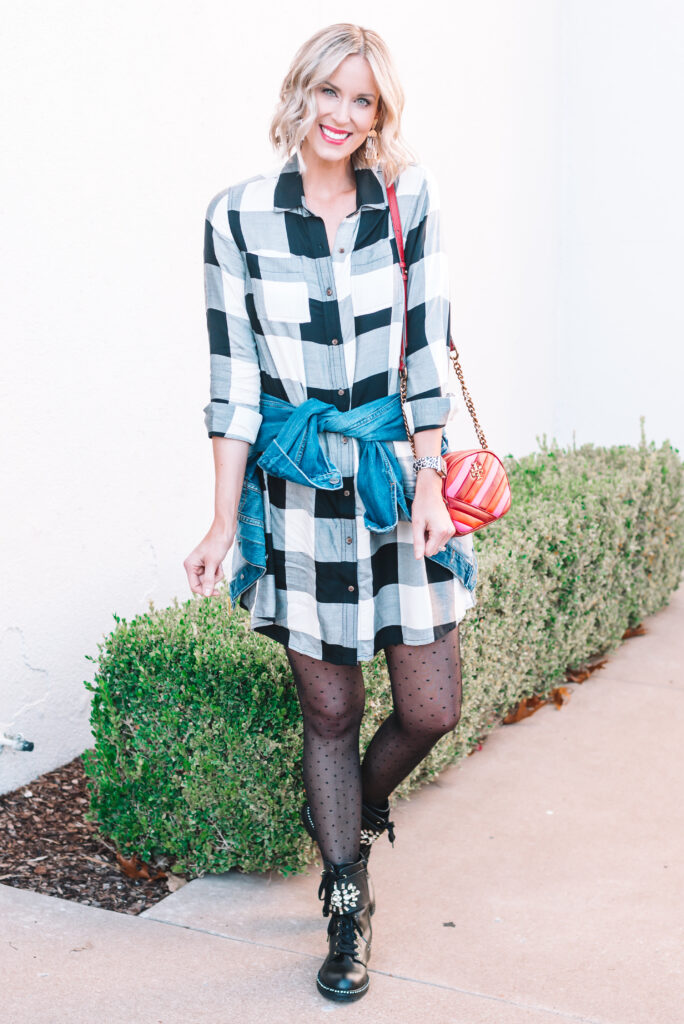 I styled my black and white buffalo plaid dress with polka dot tights and combat boots for a fun take on a classic.