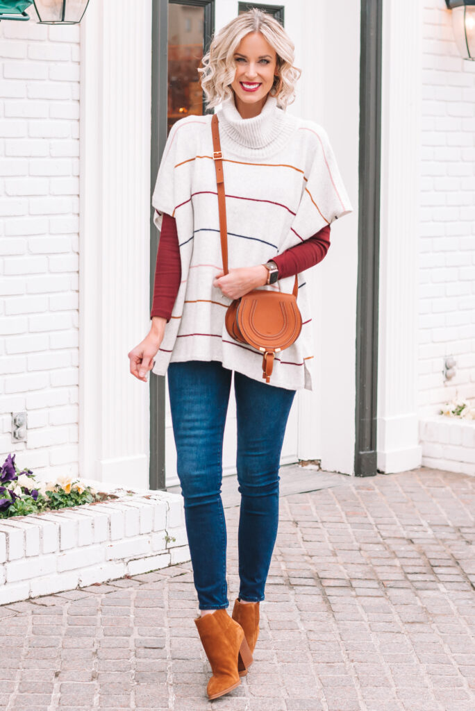 I love this cute and comfy striped poncho for an easy winter look.