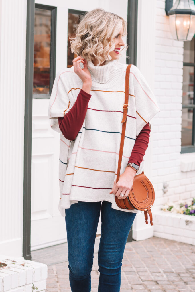 This striped poncho is one of my favorite easy winter looks!