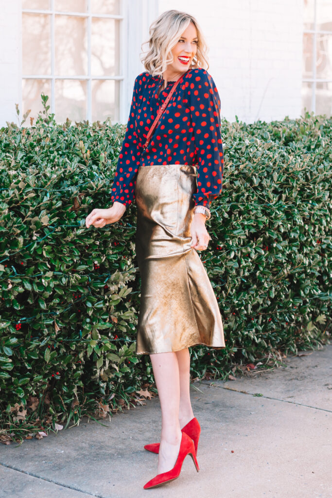 I am in love with this dressy gold midi skirt paired with this fun polka dot blouse!