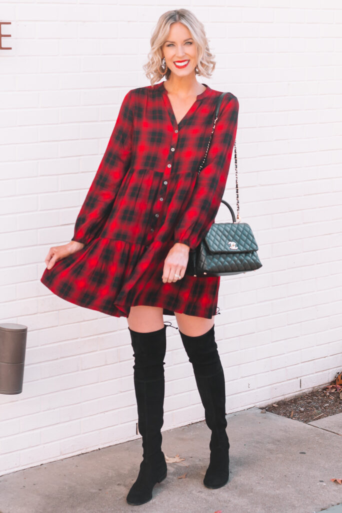How fun is this holiday red swing dress?! It's under $30 and also comes in a neutral color if the red isn't your thing.