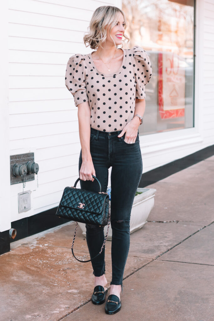 Puff sleeve tops are a major trend right now, and I loved this neutral polka dot one. It's just $60 and is a mid-weight jersey material.