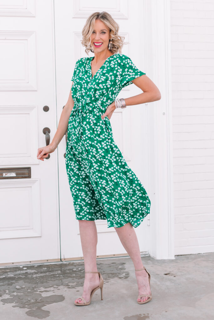 This gorgeous green spring midi dress is perfect for the season and can be worn so many different  ways!