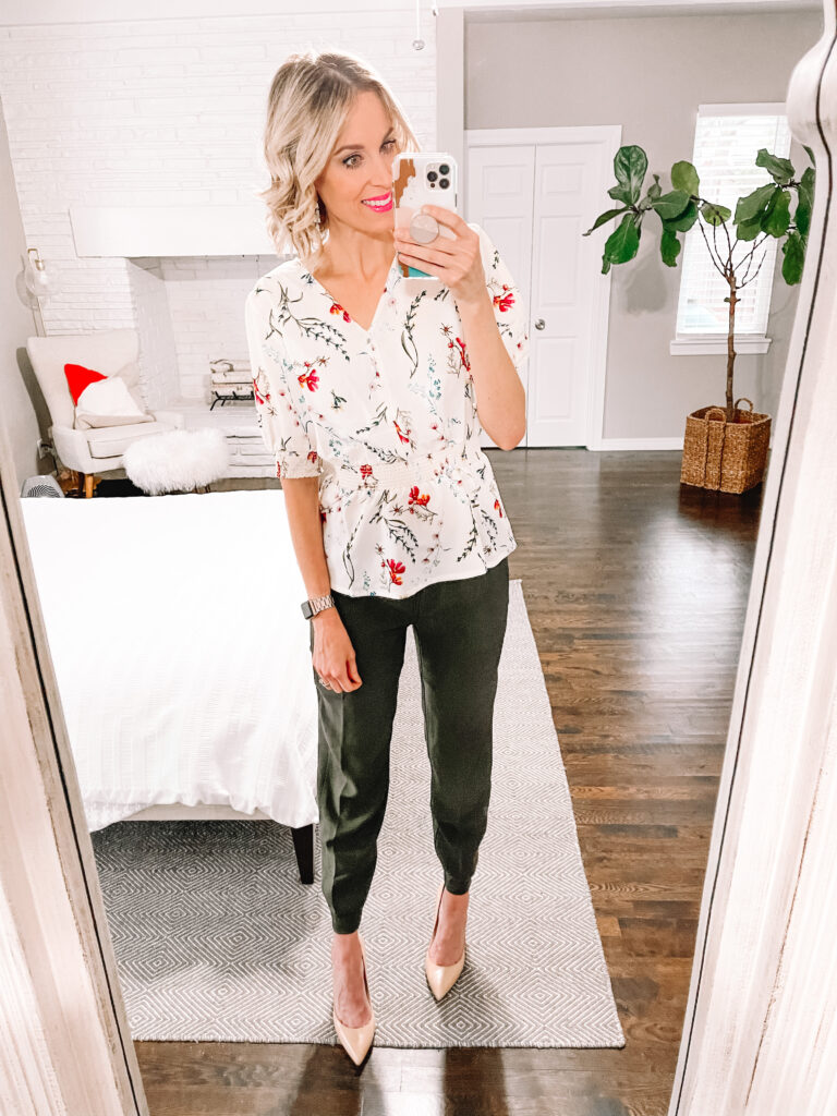 These Walmart joggers are just $15 and amazing quality! I dressed them up with this $16 blouse. It's all part of my Walmart try on spring clothing haul!