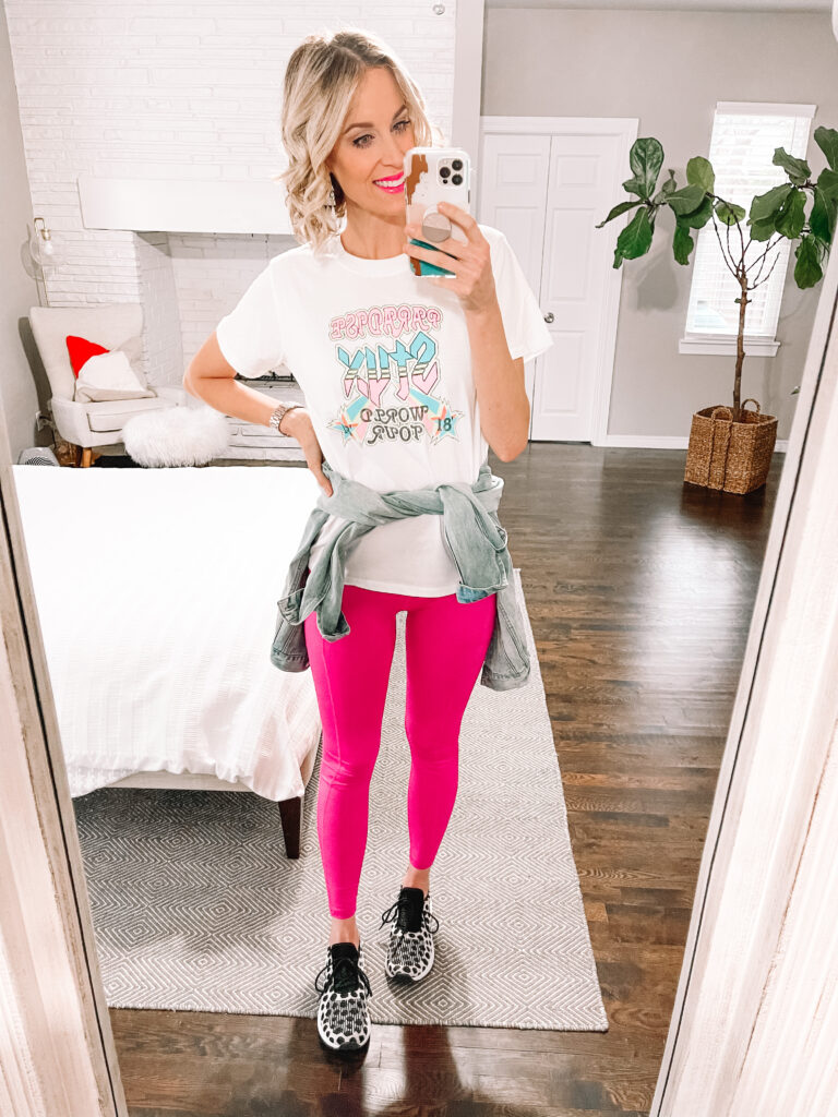 My entire outfit is under $40 including these $17 sneakers, $5 tee, and $15 leggings! All part of my Walmart try on spring clothing haul.