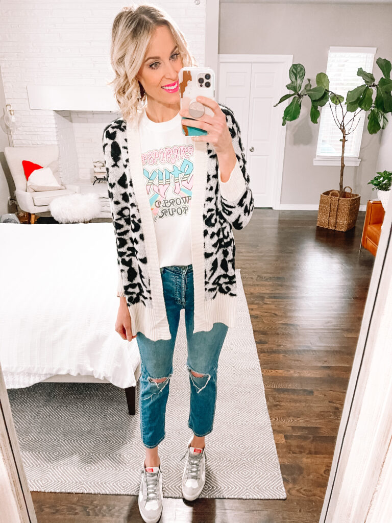This $23 leopard cardigan is such a fun piece!