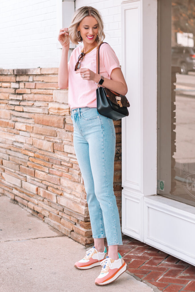 Sharing some straight leg jeans I am living plus these adorable sneakers.