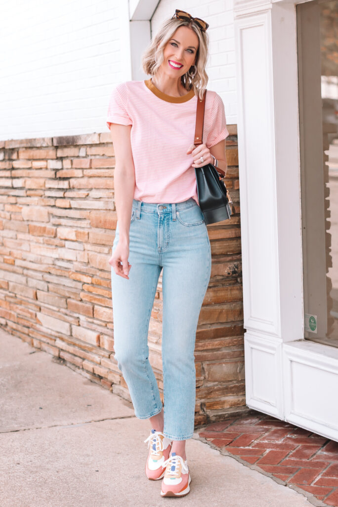 I found the best pair of straight leg jeans to make the cutest spring outfit including these fun sneakers!