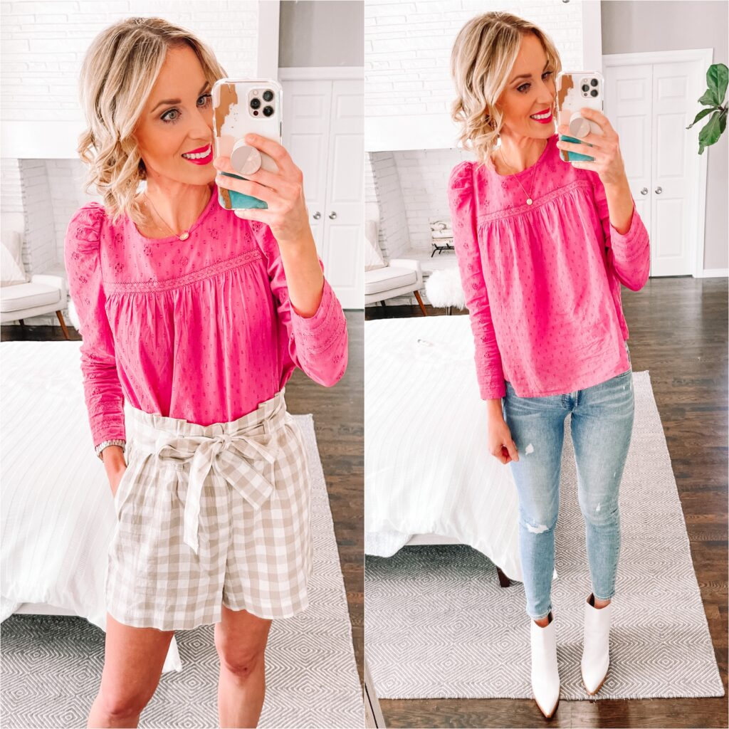 I love this gorgeous pink top paired with jeans or these fun gingham shorts. Both are part of my spring Target try on.