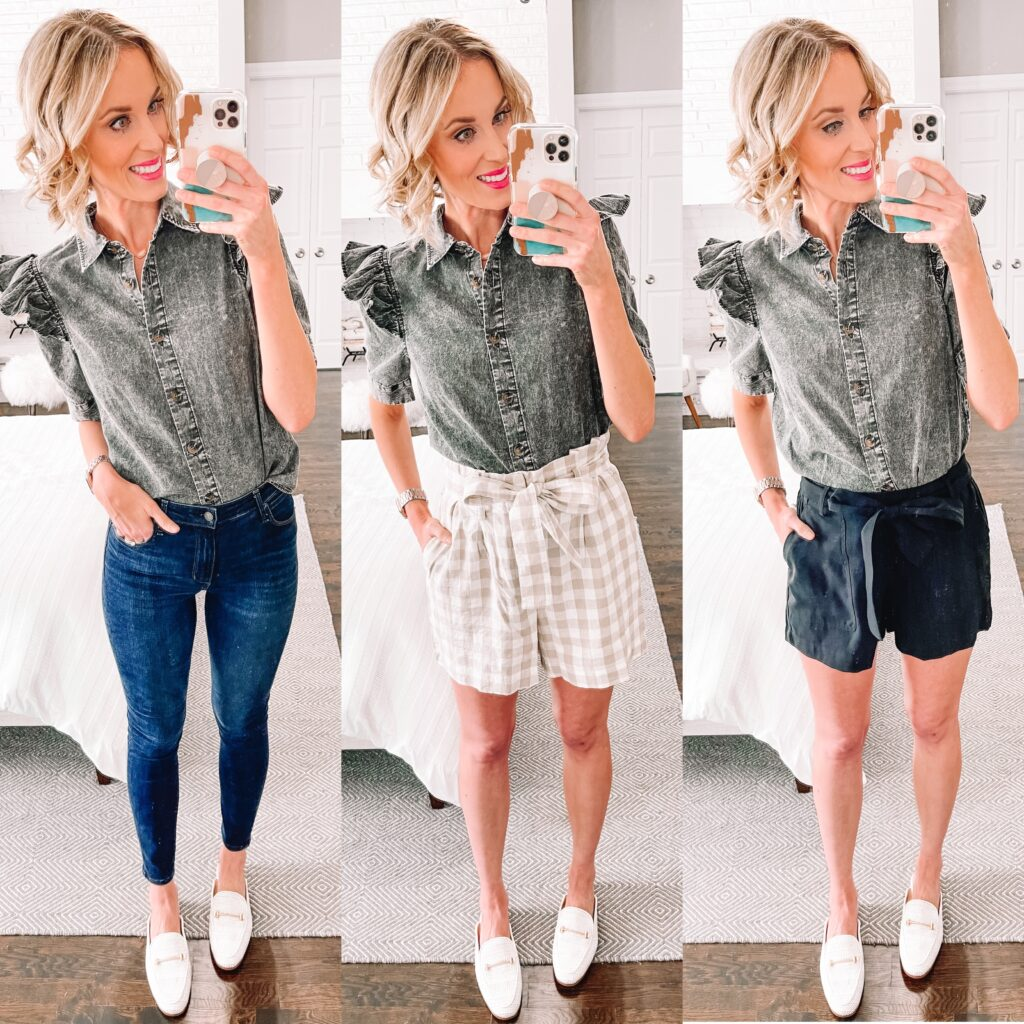 This acid wash chambray top with ruffle sleeves is such a fun twist on a classic!