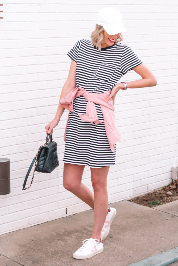 I love finding a great, affordable basic piece that can become a closet staple and sharing multiple ways to style it! Today I am sharing this $10 striped t-shirt dress 6 ways in all seasons!