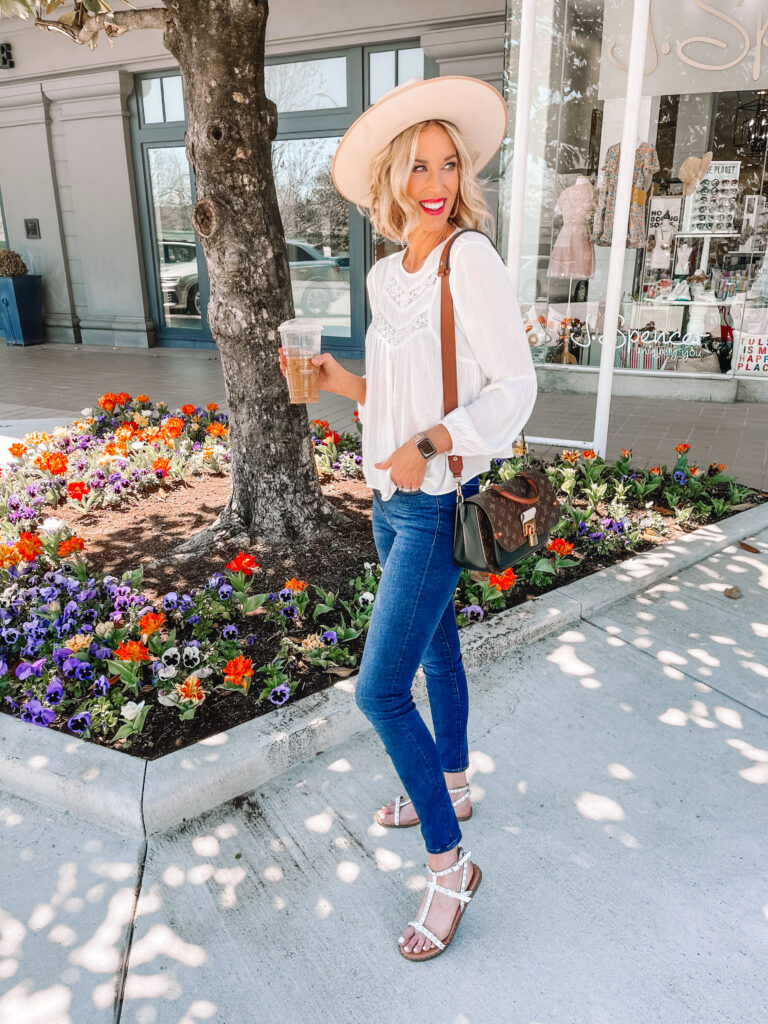 How fun is this white blouse for spring?