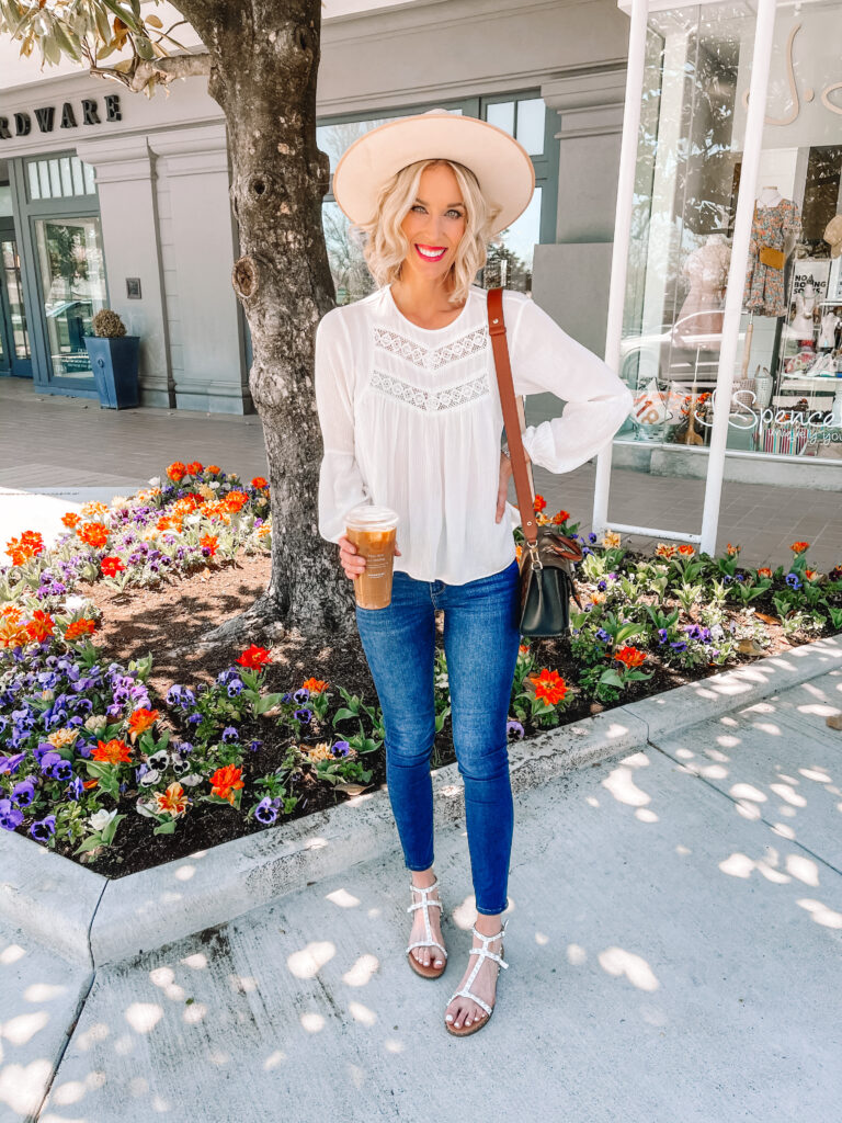 This gorgeous white boho top is just $28 and my white studded sandals are just $26! This is the perfect spring outfit!