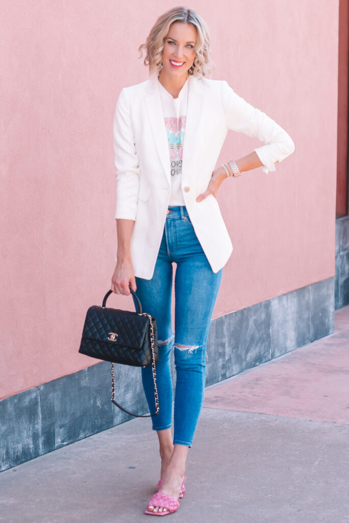 Click to see examples all about how to wear a white blazer! It's the perfect date night or girls night out outfit with jeans and heels!