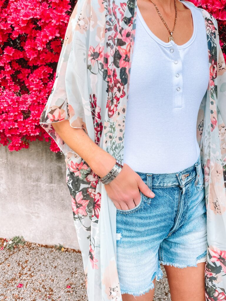Joycuff inspirational bracelets are a great gift! I love this floral kimono with cutoff shorts for summer.