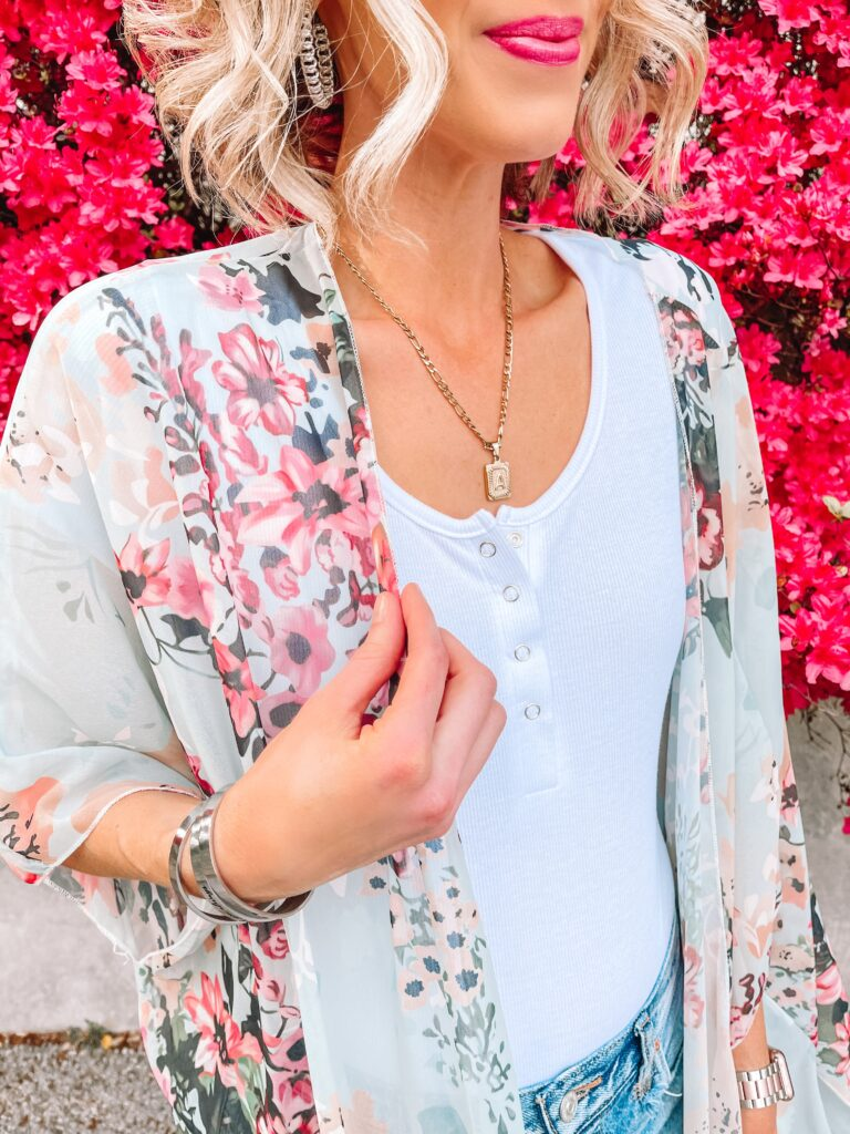 A bodysuit with cutoff shorts and a floral kimono is my summer uniform!