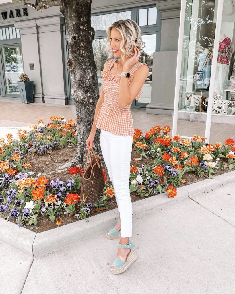 This smocked ruffle tank top is so much fun for spring! I love it with my white jeans and colorful espadrilles though you can wear it so many ways.