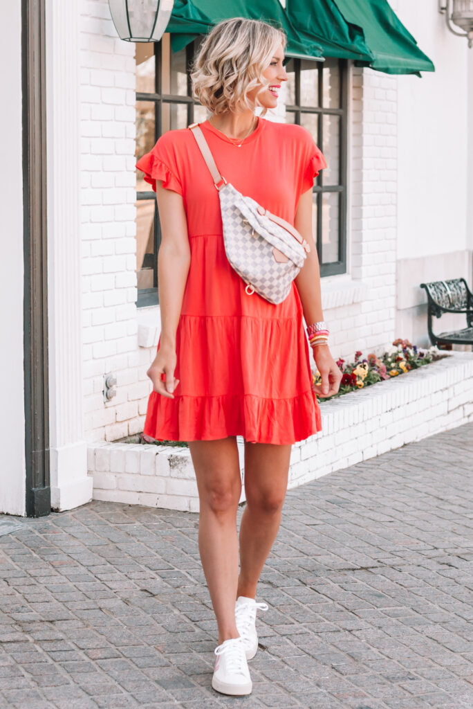 This $15 tiered cotton dress is so cute and comfy! I love it with sneakers for an easy look.
