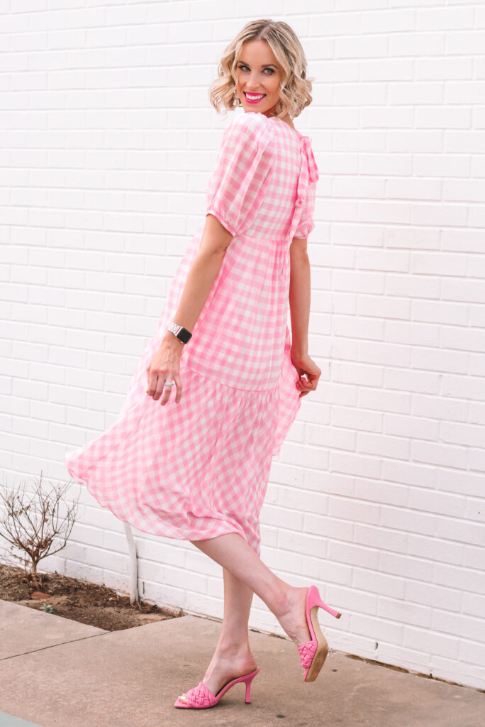 I LOVE this gorgeous pink gingham dress with the tie back detail for spring!